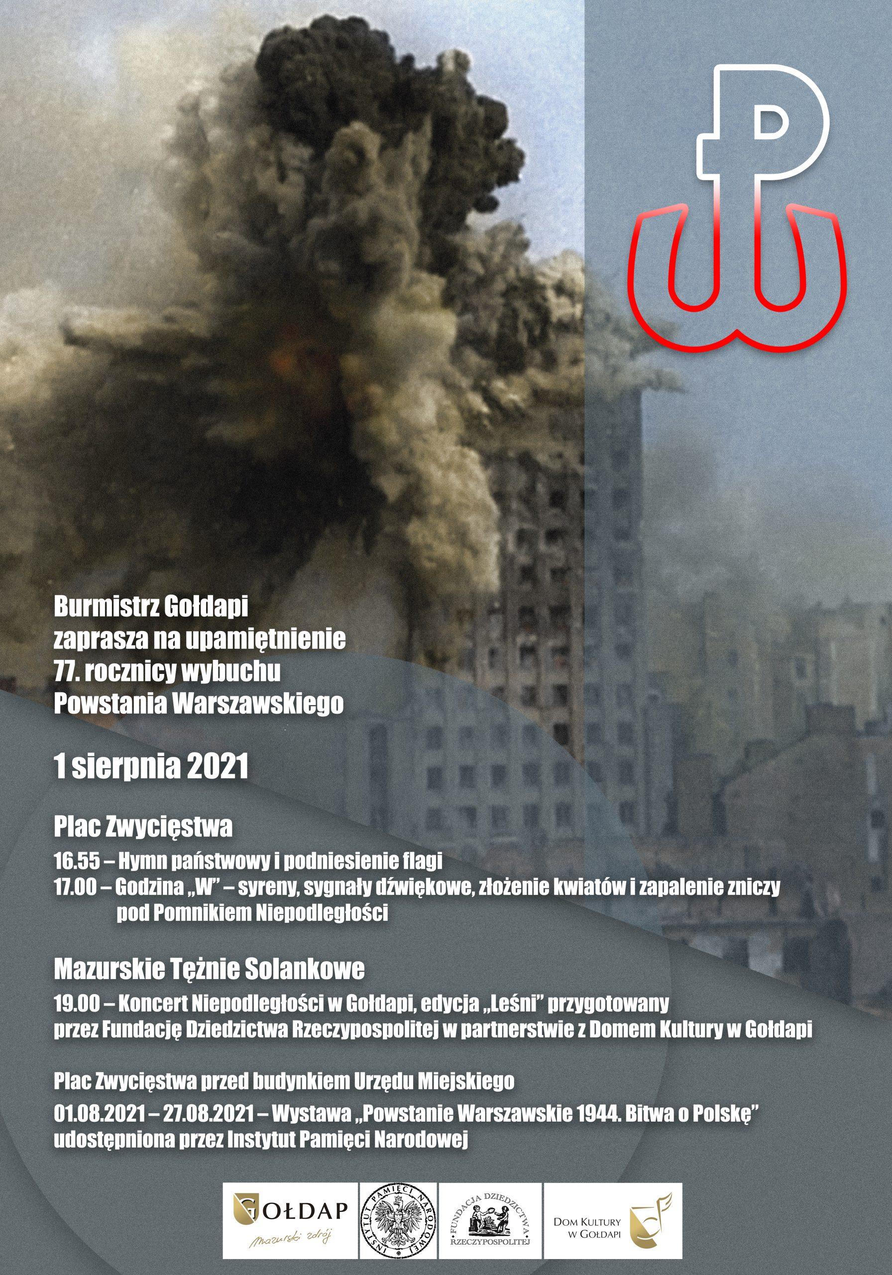 Plakat 77 rocznicy wybuchy Powstania Warszawskiego